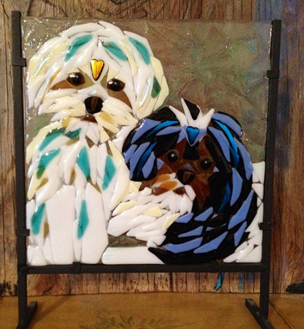 Double-pet portrait in a 12x12 stand