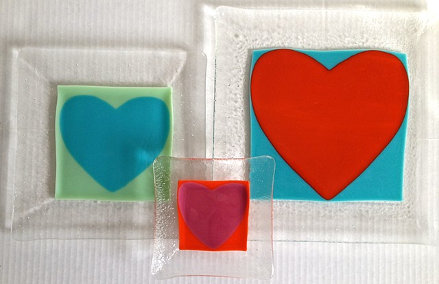 """Heartbeat"" art plates"