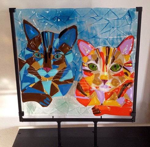 "LARGE pet portrait in metal stand...  details: glass portrait in metal stand measures approximately 16"" x 19"""