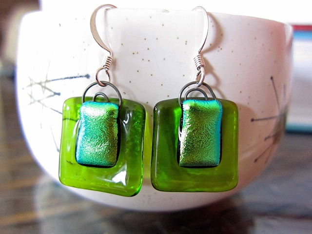 "Lime Green ""Shopping Bag"" earrings  Details: glass and wire and silver ear wires 3/4"" x 3/4"" $38"