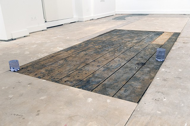 Installation view Still Water and section of the floor that was casted into Carbon Copy