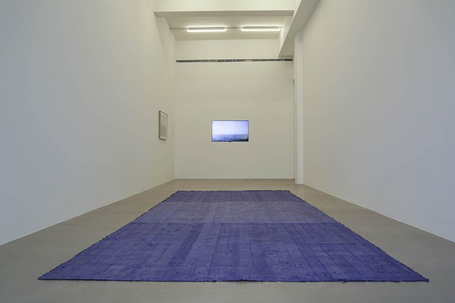 Installation view, Shipping Container Floor, Seascape and Palettes