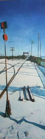 Julie Goulding artist oil paintings Railtracks Snow