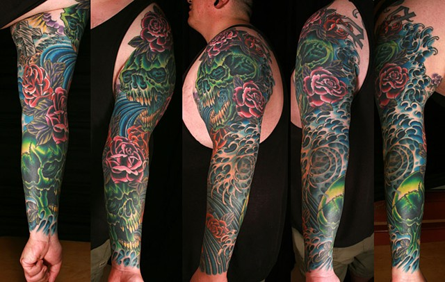 skull, rose, water sleeve