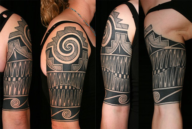 Pueblo pottery design half sleeve