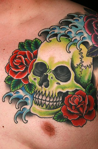 skull, roses and water