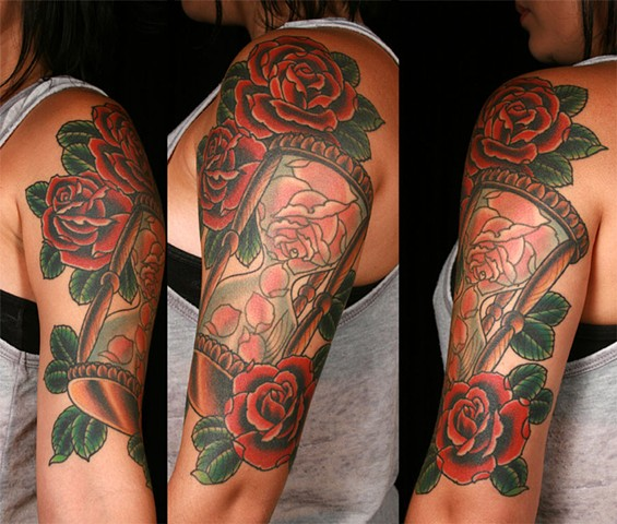 hourglass and roses