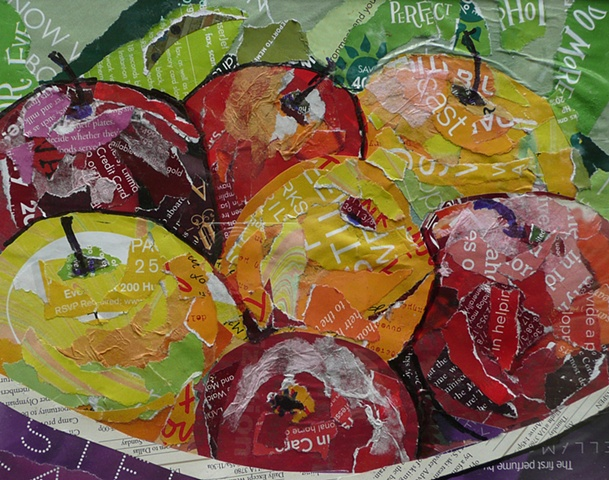 collage still life of red apples in a purple bowl