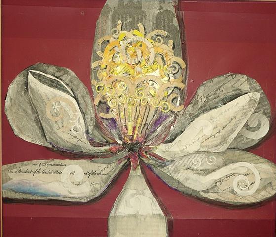 magnolia blossom done in collage