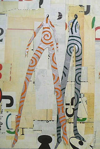 Two elongated figures collaged