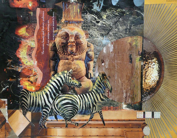 Zebras dance in a collage with mysterious elements