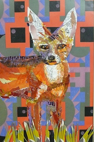 Red Fox mixed media collage