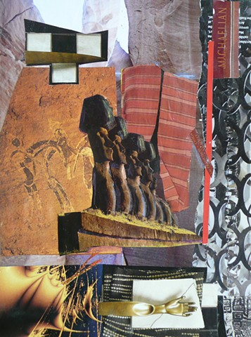 Rapa Nui figures in collage in mysterious setting