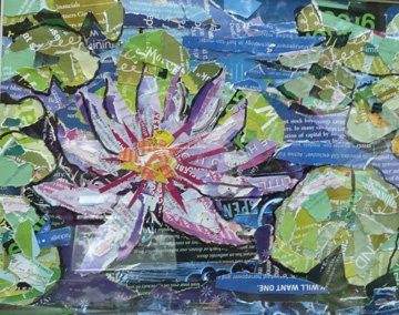waterlily rendered in paper collage