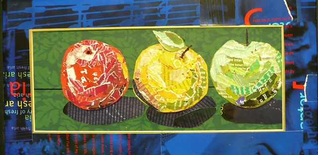 collage art of three apples one red, one yellow and one green