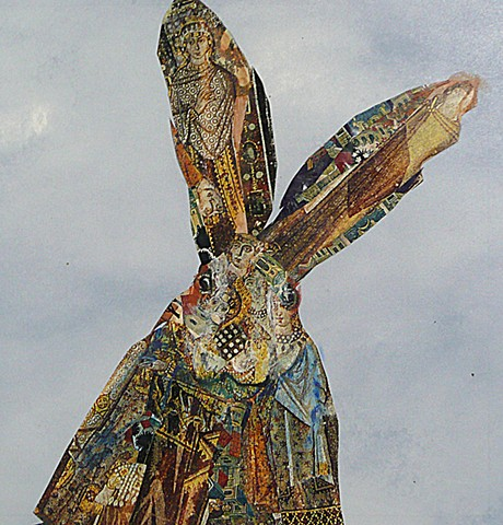 Iconic Hare mixed media features cut up icon images