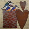 mixed media 3  birds 2 hearts