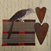 mixed media 1 bird 2 hearts