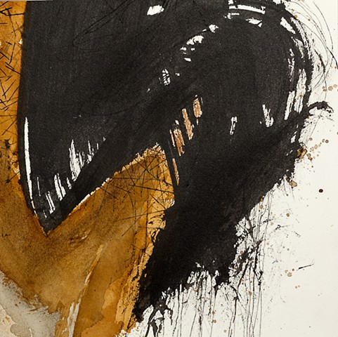 Calligraphic strokes in Sumi ink and watercolor