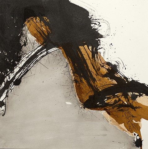 Calligraphic strokes with Sumi ink and watercolor.