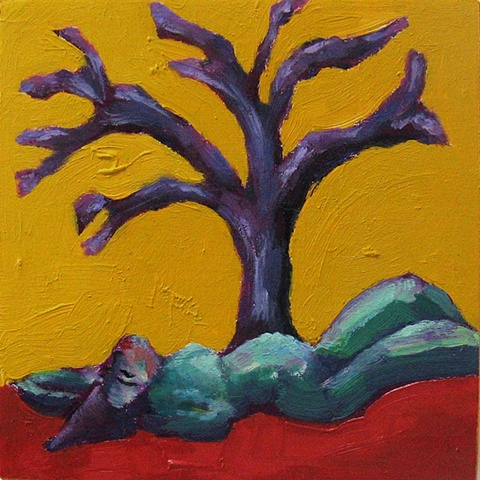 nude with tree small oil painting