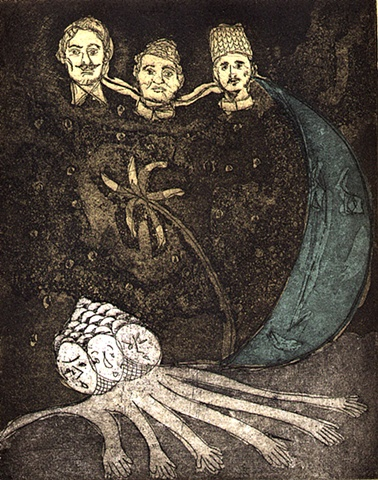 intaglio hand pulled print Three Brothers