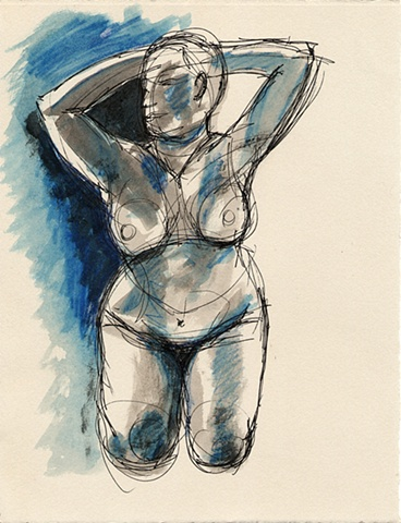 original pen and ink nude drawing