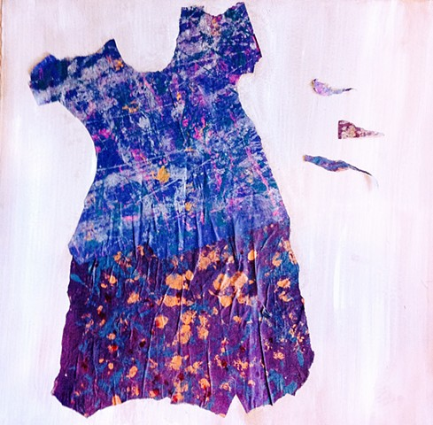 painted paper torn and cut to resemble a dress
