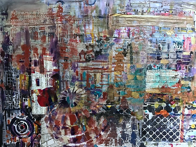 Mixed Media and Collage painting on clay board that depicts two sides of a city.