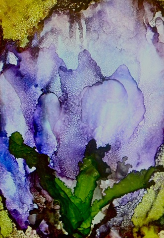 alcohol inks, purple tulips, Tommy McDonell, abstract blue flower, Artists League of the Sandhills