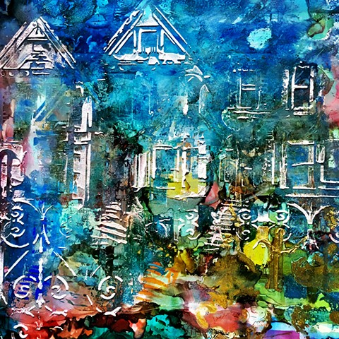 Mixed Media painting of colorful beach houses on a blue background.