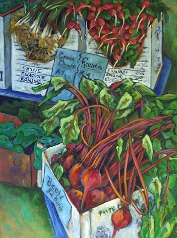 Farmers Market Beets, Radishes & Onions