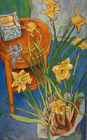 Daffodils with Gargoyle