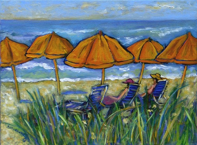 Day at the Beach with Orange Umbrellas
