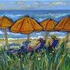 Day at the Beach with Orange Umbrellas