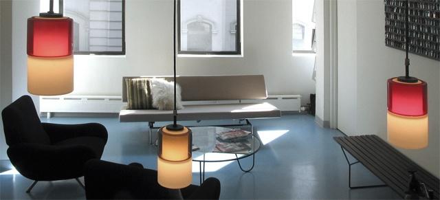 Flatiron Dental Office,  modern reception area, italian glass pendant, zanuso chair, mategot table, by Doug Stiles Interior Design