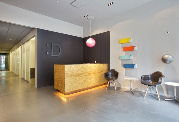 Tribeca Dental Office, modern dental office, reception area by doug stiles interior design