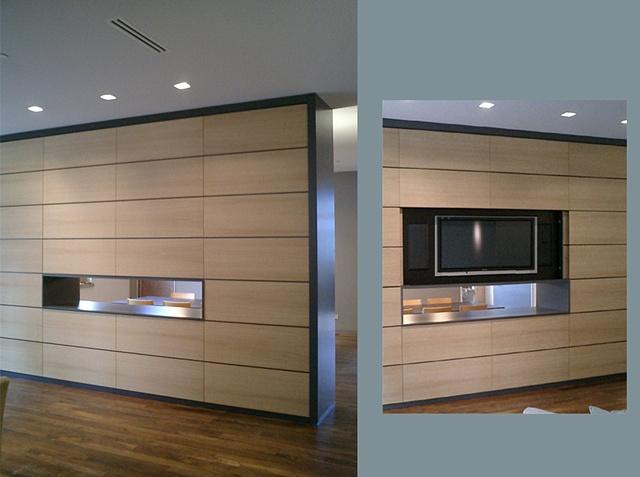 custom modern minimalist  room divider, Washington Square Loft, white oak, lacquered, by Doug Stiles Interior Design