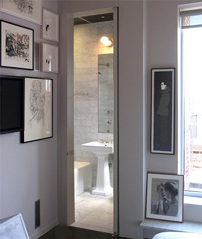 prewar penthouse apartment, modern minimalist master bathroom, terrace, by Doug Stiles Interior Design