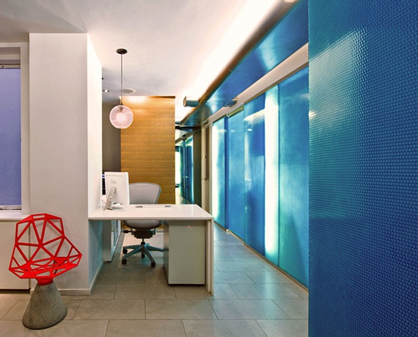 E. 40th St. Dental Office, modern dental office,  panelite polycarbonate panels, grcic chair one, by Doug Stiles Interior Design