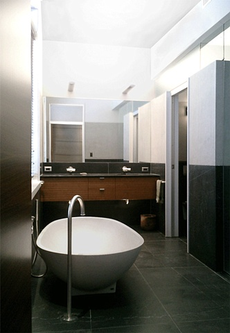 Washington Square Loft, agape spoon tub, modern minimalist master bathroom, by Doug Stiles Interior Design