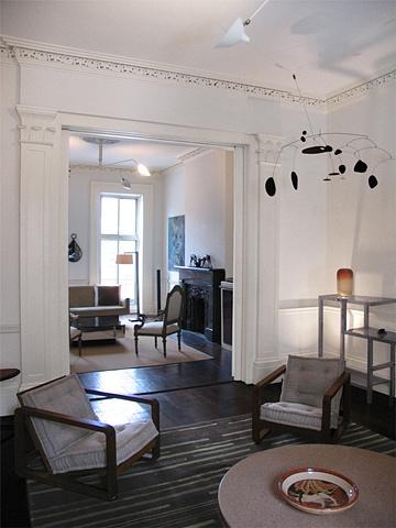 West Village Townhouse, back parlor, calder mobile, frankl cork table, modern livingroom, by Doug Stiles Interior Design