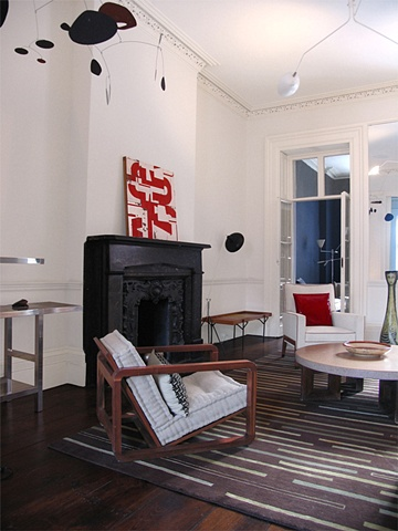 West Village Townhouse, back parlor, robert yoder painting,  serge mouille fixture, modern livingroom, by Doug Stiles Interior Design
