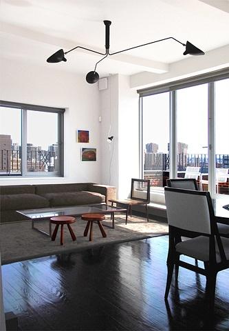 prewar penthouse apartment, serge mouille fixture, modern minimalist livingroom, by Doug Stiles Interior Design