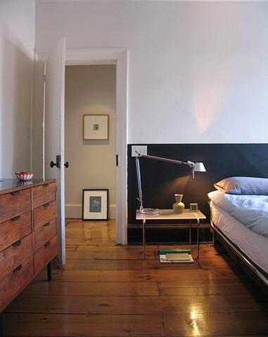 West Village Townhouse, modern bedroom, vintage chrome bed, cappellini table, wide plan flooring, by Doug Stiles Interior Design