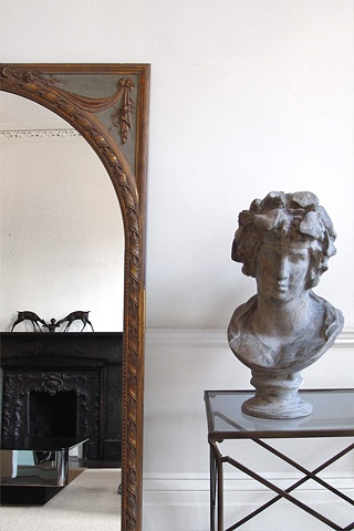 West Village Townhouse, bust, 18th century mirror, modern livingroom, by Doug Stiles Interior Design