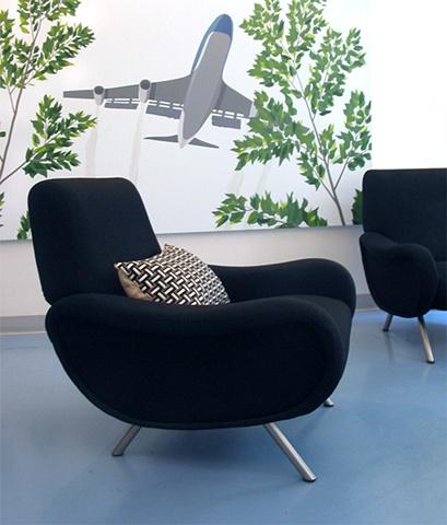 Flatiron Dental Office,  modern dental office, modern reception area, zanuso chair, by Doug Stiles Interior Design