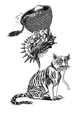 tiger, basket, cat, weird