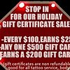 Gift Certificates Holiday Season 2103