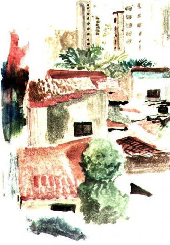 rooftops brazil-page from sketchbook